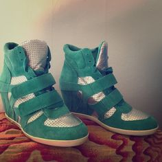 ASH BOWIE Turquoise/ Silver Sneaker Wedges Only wore these once Ash Shoes Sneakers