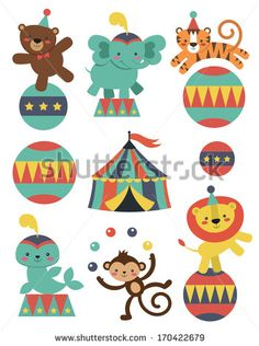 Find Cute Circus Animals Collection Vector Illustration stock images in HD and millions of other royalty-free stock photos, illustrations and vectors in the Shutterstock collection. Circus Decorations, School Decorations, Art N Craft, Toy Craft, Clowns For Birthday Parties, Circus Activities, Circus Illustration, Vintage Circus Party, Doodle Background