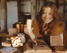 Medieval tile making with white slip and honey glaze