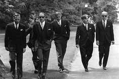 Canadian Prime Minister PIERRE TRUDEAU (second from left) wearing dark glasses, arrives with members of his new cabinet for swearing in ceremonies at Government House in Ottawa, July 6, 1968.   Left to right are: James Richardson, minister without portfolio, D.C. Jamieson, (partly hidden), minister without portfolio, Trudeau, Justice Minister John Turner, Jean Marchand, Forestry Minister, and Gerard Pelletier, State Secretary.THE CANADIAN PRESS/Doug Ball