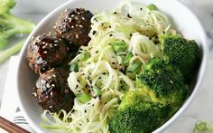 These broccoli stem noodles are tossed in an umami miso dressing, then served with black bean balls that have been glazed with an Asian-inspired sauce. Vegan Noodles Recipes, Broccoli Recipes, Vegan Recipes, Vegan Meals, Vegan Food, Healthy Food, Noodle Recipes, Vegan Dishes, Vegetarian Food