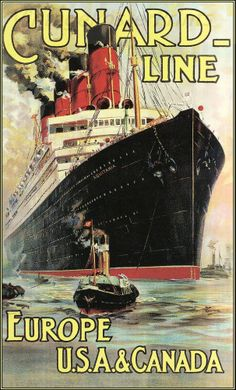 Cunard Line 1914 Europe USA Canada http://stores.ebay.com/Vintage-Poster-Prints-and-more