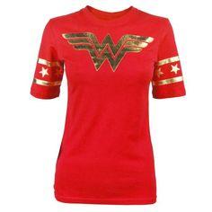 Wonder Woman Gold Foil Striped Sleeves Red Juniors T-shirt Tee (Juniors Medium)