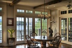Lake House - traditional - Dining Room - New York - Crisp Architects Lakeside Living, Interior Design Elements, Transom Windows, Front Windows, Lakefront Homes, Room Additions, Lake Cottage, Beautiful Interiors, French Doors
