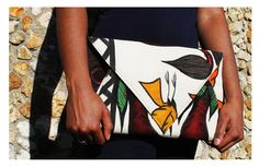ricoton clutch made with mud cloth , bogolan