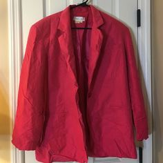 "100% silk pink blazer Previously loved. No damage. 100% silk. Shoulder to hem is 29"" long. One button in front. Just needs a good pressing 💕 Naked silk Jackets & Coats Blazers"