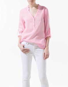 Long Sleeves V Neck Womens Collarless Shirt