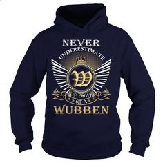 Never Underestimate the power of a WUBBEN - #gift ideas for him #thank you gift. PURCHASE NOW => https://www.sunfrog.com/Names/Never-Underestimate-the-power-of-a-WUBBEN-Navy-Blue-Hoodie.html?id=60505