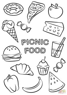 Breakfast coloring pages printable picnic food coloring page free printable pages and to print feel free to print and color from the best breakfast coloring pages at getcolorings. explore 623989 free printable coloring pages for your kids and adults. Vegetable Coloring Pages, Fruit Coloring Pages, Cute Coloring Pages, Coloring Pages To Print, Coloring Pages For Kids, Coloring Books, Colouring, Free Coloring Sheets, Free Printable Coloring Pages