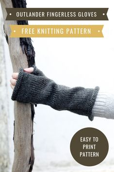 Outlander fingerless gloves pattern - Make a pair of Brianna fingerless mittens from season four with this easy free knitting pattern. Outlander Knitting Patterns, Knitting Machine Patterns, Knitting Yarn, Free Knitting, Hat Patterns, Winter Knitting Patterns, Stitch Patterns, Knitted Mittens Pattern, Knit Mittens