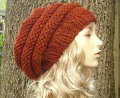 Hand Knit Hat Womens Hat - Oversized Beehive Beret Hat in Rust Orange - Fall Fashion Autumn Fashion Autumn Accessories. $50.00, via Etsy.