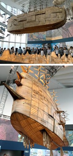 This incredible structure is modeled after the airship from Studio Ghibli's 1986 animated adventureCastle in the Sky. #StudioGhibli #sculpture #kineticart