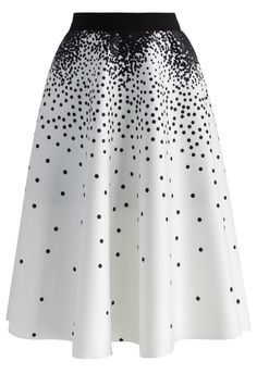 Falling Dots Airy A-line Skirt in White