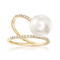 Classic elements take a mod turn in this abstract 14kt yellow gold ring. .24 ct. t.w. round brilliant-cut diamonds cross with a 10.5-11mm cultured freshwater pearl. Diamond and white pearl ring. Free shipping & easy 30-day returns. Fabulous jewelry. Great prices. Since 1952.