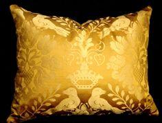 Decorative Designer Throw Pillow SCALAMANDRE Fabric LOVE BIRD Gold Silk w Palace Velvet back Stunning by Cabin Cove Creations