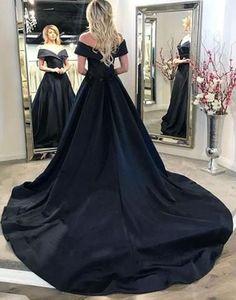 Simple Black Long Prom Dresses Off the Shoulder Evening Formal Dresses,HS538