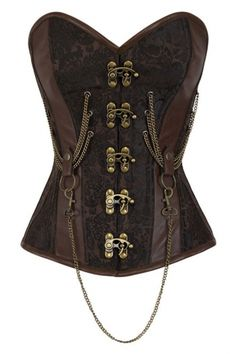 Emmery Steampunk Corset in Brown Brocade with Clasps and Chains Costume Viking, Corset Steampunk, Body Lingerie, Angel Outfit, Overbust Corset, Cool Costumes, Costume Ideas, Boot Shop, Costume Design