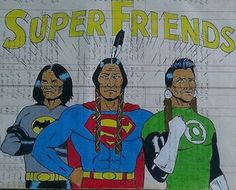 """SUPER FRIENDS"" on vintage ledger paper from the year prismacolor pencils and india ink. by Steven Paul Judd Native American Heritage Month, Native American Patterns, Native American Art, Blackfoot Indian, Native Art, Tribal Art, First Nations, Fine Art Gallery, Scrapbook Cards"