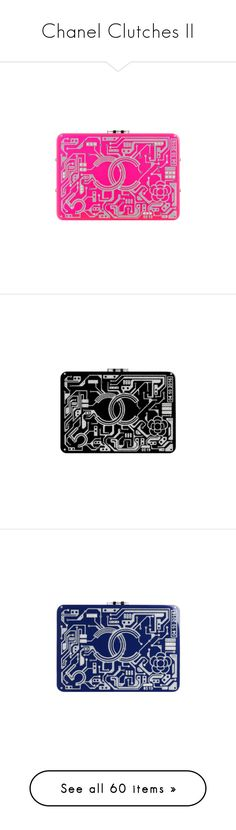 """Chanel Clutches II"" by sakuragirl ❤ liked on Polyvore featuring jewelry, chanel, resin jewelry, pink jewelry, black and silver jewelry, chanel jewellery, chanel jewelry, blue jewelry, bags and handbags"