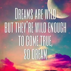 Dreams are wild, but they're wild enough to come true, so dream.