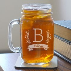 This Engraved Family Name Mason Jar would be perfect for gifting!
