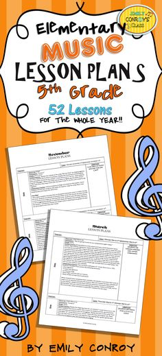 5th Grade Music Lessons Plans-These plans are creative and concise. They are for the whole year and contain song, activity, and game ideas for 5th grade music students!