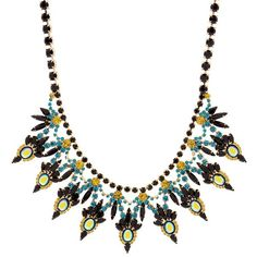 Elizabeth Cole Valentina Nightfall Crystals Necklace (2.838.050 IDR) ❤ liked on Polyvore featuring jewelry, necklaces, lime green jewelry, elizabeth cole jewelry, elizabeth cole, bib necklace and swarovski crystal jewelry