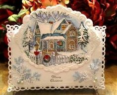 Old Fashioned Christmas Card...with lacy edges & embossing. by annabelle