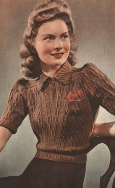 1940s Knitting Pattern for Womens Blouse / Jumper - Short puffed Sleeves - 37 38 in bust - Digital PDF Get Chic Fashionable Women's Tops(patterns for women's tops|women's designer tops cheaps| women's draped tops|women's elegant tops| women's embroidered tops|and accessories at 90% wholesale price!|free shipping worldwide}