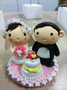 Wedding topper jumping clay