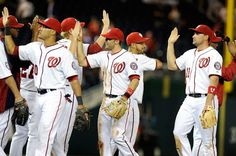 April 16th - WSH vs HOU - The Nationals celebrate a win against Houston. Final Score: 6-3. Nationals are 8-3 this season, currently first in the NL East.