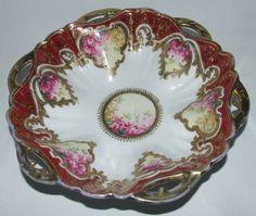 Antique Gold Gilt Hand Painted Floral Nippon Noritake Bowl SO ELEGANT!!!