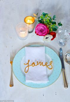 place setting. just spell out each guest's name with a length of wired cord (pipe cleaner will work too).