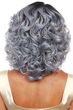 Women Gray Ombre Heat Resistant Wavy Costume Wig - One Size Save it if you like this One :) ! Grey Ombre Hair, Grey Curly Hair, Grey Wig, Silver Grey Hair, Curly Hair Cuts, Short Curly Hair, Curly Hair Styles, Short Wigs, White Hair