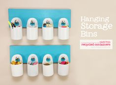 Hanging Storage using disinfectant wipe containers. This would be so great in a garage or garden shed