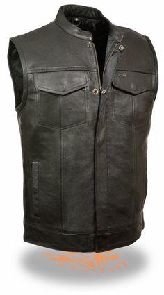 SOA Men's Basic Cowhide Leather Motorcycle Vest w/ 2 Inside Gun Pockets & Single Panel Back (XX-Large)