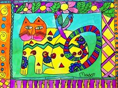 Artsonia Art Gallery - Laurel Burch Hearts and Animals Laurel Burch, 30 Day Art Challenge, Animal Art Projects, 2nd Grade Art, Art Lessons Elementary, Art Lesson Plans, Art Classroom, Art Plastique, Teaching Art