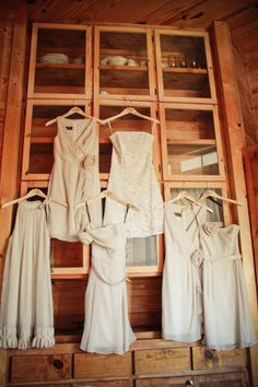 bridesmaid dresses  |  studio eleven photography love hanging all together with brides dress and different BM dresses
