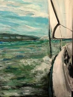 HEELING ART - Carol Logue produced this vivid painting of the Let's Go Sail boat heeling to 15 degrees. Note the Coleman Bridge in the background. Sailboat Charter, Williamsburg Virginia, Sailing, Cruise, Bridge, River, Note, Candle, Cruises