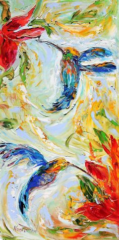 Original oil Hummingbird Dance palette knife by Karensfineart, $139.00