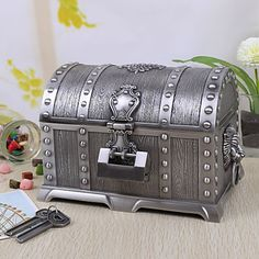 Vintage Silver Tutania Treasures Box/Jewelry Box with Lock
