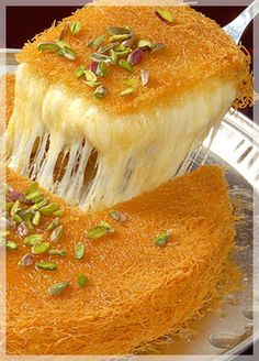 arabic food Kunafa is one of the most favored deserts in Ramadan. Its done in all sort of ways, with nuts, cream, honey, etc. Ramadan Desserts, Ramadan Recipes, Sweets Recipes, Cooking Recipes, Tofu Recipes, Cooking Tips, Egyptian Desserts, Egyptian Food, Arabic Dessert
