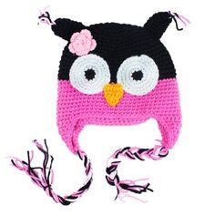 [2015] niceeshop(TM) Cute Owls Crochet Knit Wool Toddler Hat With Ear Flap,Black&Roseo niceEshop