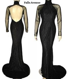 On Ruby Lane - 1980s Vintage Black Gown with Train Size Small, $90