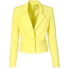Blazer ❤ liked on Polyvore featuring outerwear, jackets, blazers, yellow jacket, yellow blazer, blazer jacket and yellow blazer jacket
