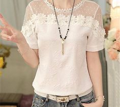 Beaded Embroidery Blouse Shirt Women Patchwork Blouse 2018 Summer Korean Fashion Short Sleeve Elegant Jacquard Tops Female Source by glyaoiyuure Bermudas Fashion, Korean Fashion Shorts, Korean Fashion Trends, Fashion Ideas, Blouse Patterns, Blouse Designs, Top Chic, Blouse Models, Beautiful Blouses