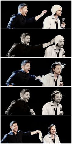 And this is how everyone got to see Jared's hair cut. Thank you, Jensen! <3 #Jared #Jensen #JibCon14