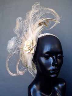 MADE TO ORDER Creme Peacock Feather Headpiece by MissGDesignsShop, $265.00