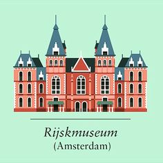 French artist Le Duo illustrations of landmark buildings inc. The #rijksmuseum, #Amsterdam where we were on Tuesday.   #studyabroad #maastricht #europe #travel