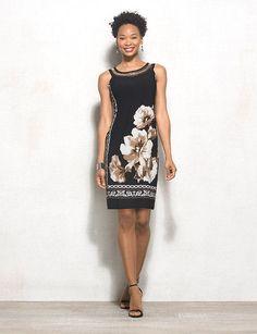 Embellished Printed Knit Shift Dress